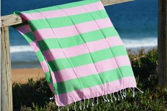 Compact Lifestyle Beach Daze Turkish Towel – Pink/Green