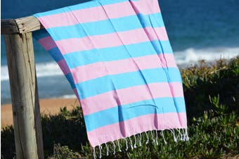 Compact Lifestyle Beach Daze Turkish Towel – Pink/Light Blue