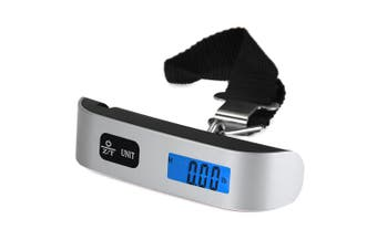 Hostweigh LCD Mini Luggage Electronic Scale Thermometer 50kg Capacity Digital Weighing Device-Silver