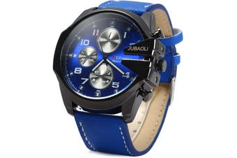 Jubaoli Luminous Pointers Big dial Male Quartz Watch with Decorative Sub-dials Leather Band-BLUE