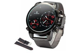 OCTAVIUS Male Quartz Watch Double Movt with Steel Net Band-BLACK
