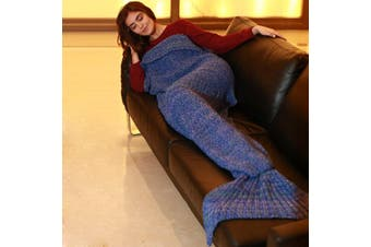 Stylish Artist Playfully Redesigns Cozy Blankets As Crocheted Mermaid Tails(Blue 40*90CM)