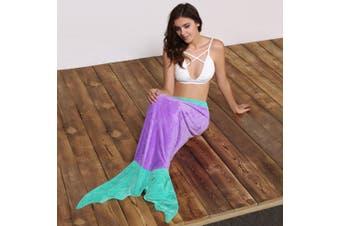 Cute Color Block Mermaid Design Blanket Sleeping Bag For Kids