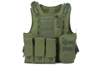 Outlife Tactical Molle Airsoft Vest Military Field Battle Paintball Combat Protective Outdoor Hunting Plate-Army Green