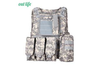 Outlife Tactical Molle Airsoft Vest Military Field Battle Paintball Combat Protective Outdoor Hunting Plate-ACU Camouflage