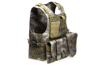 Outlife Tactical Molle Airsoft Vest Military Field Battle Paintball Combat Protective Outdoor Hunting Plate-FG Camouflage