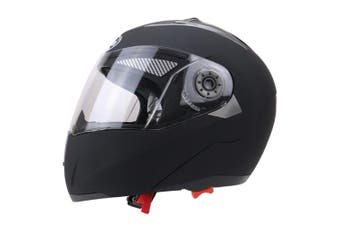 Full Face Motorcycle Helmet Dual Visor Street Bike with Transparent Shield, Matte Black L