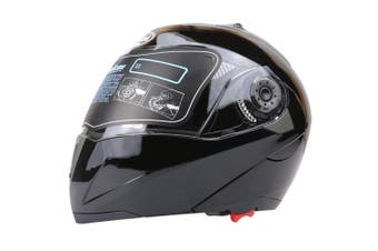 Full Face Motorcycle Helmet Dual Visor Street Bike with Transparent Shield, Black L