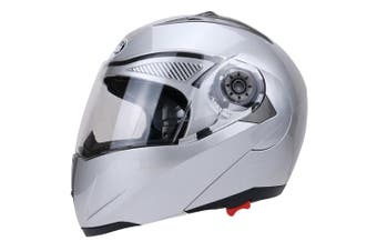 Full Face Motorcycle Helmet Dual Visor Street Bike with Transparent Shield, Silver XXL
