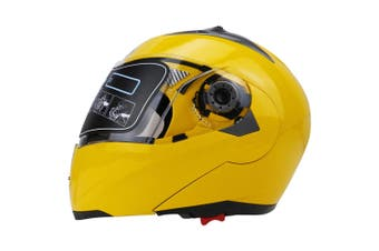 Full Face Motorcycle Helmet Dual Visor Street Bike with Transparent Shield, Yellow XXL