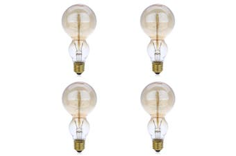 Lightme 4pcs 230V 40W E27 110 - 120LM 32AK Retro Edison Bulb Tungsten Filament Gourd Shape Light Bulb-Transparent Gold