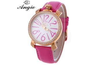 Angie ST7154L Matonini Series Leather Band Rhinestone Quartz Watch for Ladies Luminous Pointers