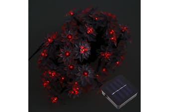 50 LEDs Solar Powered Lotus Flower String Light-Red