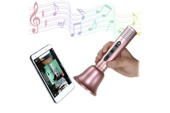 GBTIGER Bluetooth Speaker Wireless Microphone Karaoke KTV Player-Rose Gold
