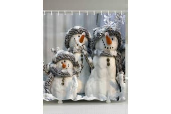 Snowman Printed Fabric Waterproof Shower Curtain Size L