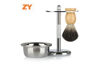 ZY Men Classic Shaving Kit Badger Hair Brush Stand Holder Soap Bowl for Razor Facial Cleaning Tools-Silver and Brown