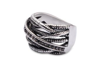 Stylish Old Classical Silver Color Springs Twine Rhinestone Ring