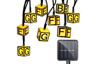Solar Powered Waterproof Letter String Lamp Home Decoration-Warm White Light