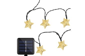 Solar Powered Waterproof 20 LEDs Iron Star String Lamp HomeDecoration-Cool White Light
