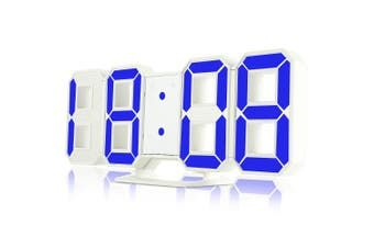 3D LED Digital Alarm Clocks 24 / 12 Hours Display 3 Brightness Levels Dimmable Nightlight Snooze Function-Blue