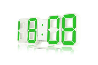 3D LED Digital Alarm Clocks 24 / 12 Hours Display 3 Brightness Levels Dimmable Nightlight Snooze Function-Green
