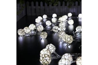 5m 40 LEDs Globe Rattan Ball Fairy String Light-White