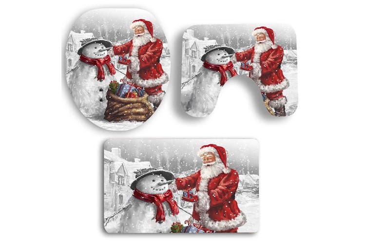 Father Christmas and Snowman Pattern 3Pcs Bathroom Mats Set-Colorful