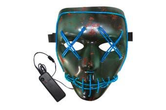 BRELONG Halloween Mask Green Full Blood Horror EL Cold Light for Make-up Party