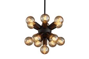 E27 12 Bulb Sockets Industrial Retro Pendant Light Wrought Iron Cafe Dining Room Droplight