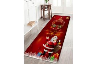 Christmas Wreath Santa Claus Print Flannel Bath Rug