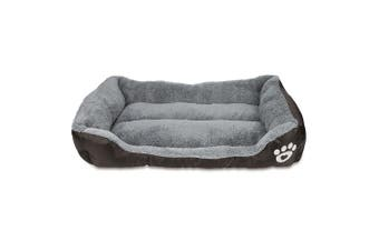 M Size Ultra-soft Paw Print Water-resistant Dog Cat Warm Bed Fits Most Pets-Coffee