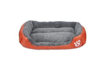 Ultra-soft Paw Print Water-resistant Dog Cat Warm Bed Fits Most Pets-L
