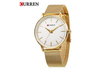 Curren 9021 Women Quartz Watch Simple Ultra-thin Dial Female Wristwatch-GOLDEN AND WHITE