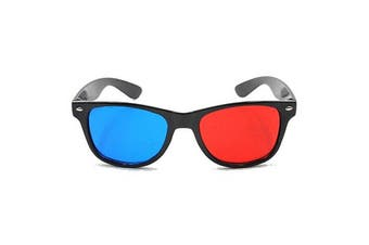 Blue and Red 3D Eyeglasses Cyan Anaglyph Simple Style Extra Upgrade Style To Fit Over Prescription Glasses for Movies Games