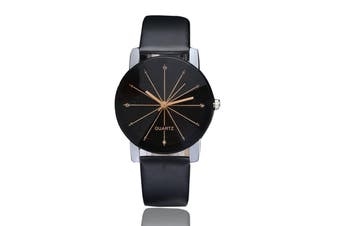 DUOYA XR1565-B Women Minimalist Analog Quartz Leather Wrist Watch