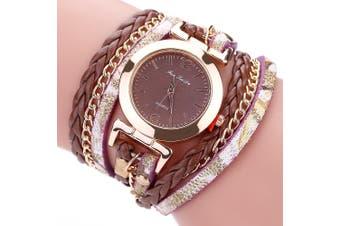 Fanteeda FD092 Women Wrap Around Leather Wrist Watch with Chain