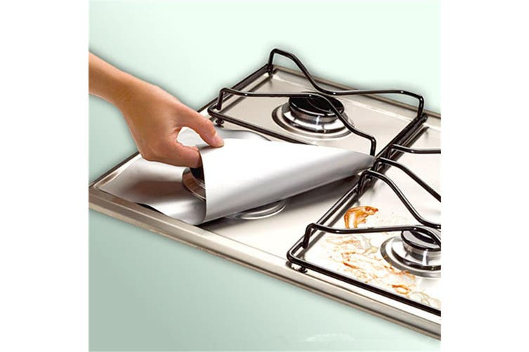 Non-stick Gas Range Protectors Reusable Foil Stove Burner Protective Cover Liner Clean Mat Pad-Silver