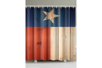 Five-pointed Star Wood Planks Print Shower Curtain( W*L: 180cm* 200cm)