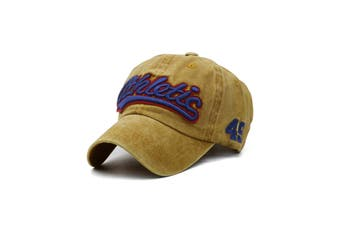 Letter Pattern Embroidered Washed Dyed Baseball Cap