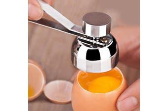 Stainless Steel Egg Opener Measuring Ball Eggshell Top Cracker-Silver