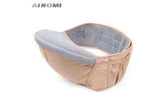 Ainomi Baby Carrier Waist Stool Walkers Infant Sling Hold Hipseat Belt for Kids-Camel brown
