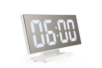 Digital Mirror Surface Alarm Clock with Large LED Display USB Port for Bedroom-White