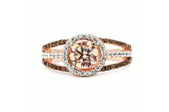 Luxury Exquisite Rose Gold Gemstone Diamond Charm Crystal Bride Princess Ring