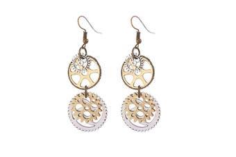 Ladies Personality Fashion Watch Pin Gear Earrings