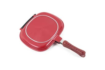 Double-sided Frying Pan Non-stick Barbecue Cooking Tool-Red Wine