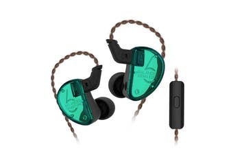 KZ AS06 In-ear Stereo Earphones 3BA Balanced Armature Driver Noise Cancelling HiFi BassEarbuds - WITH LINE CONTROL-Green