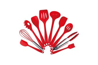 10PCS Silica Gel Kitchenware Non-stick Pan Shovel Spoon-Rosso Red