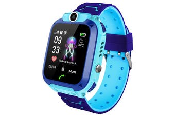Q12B 1.44 inch Touch Screen Kids Smart Phone Watch Front-facing Camera SOS Call Safety Zone Alarm-Blue