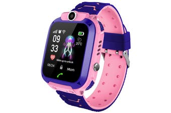 Q12B 1.44 inch Touch Screen Kids Smart Phone Watch Front-facing Camera SOS Call Safety Zone Alarm-Pink