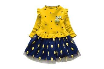 Ruffle Leaf Print Girl Dress Stand Collar Long Sleeve Heart Print Mesh Children Garment - 120